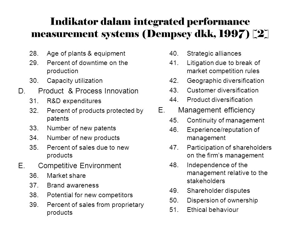 Indikator dalam integrated performance measurement systems (Dempsey dkk, 1997) [2]